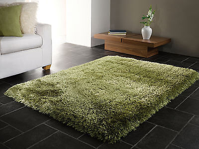 SMALL - LARGE SOFT CHUNKY THICK 8cm LONG SHAGGY PILE PEARL SOFT SAGE GREEN RUG