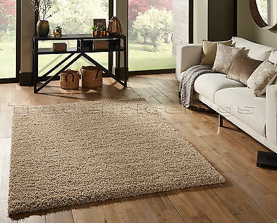 Small - Extra Large Thick Shaggy Shag Pile Beige Rug. Overstock Clearance Sale