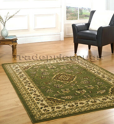 NEW EXTRA LARGE GREEN BEIGE CLASSIC TRADITIONAL DENSE PILE RUG 200x290