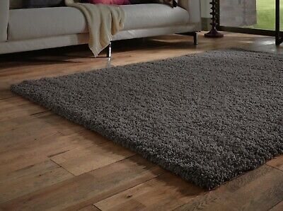 Extra Large Thick 5cm Pile Shaggy Black Charcoal Grey Anthracite Rug 200x290