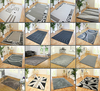 Small - X Extra Large Quality Soft Light Dark Grey Swirls Modern Discount Rugs