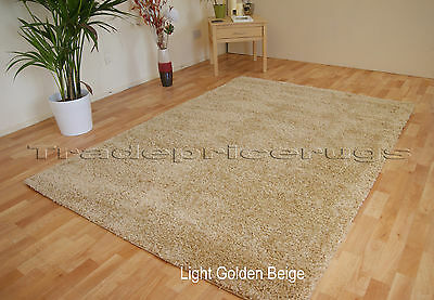 Small - Large Light Golden Beige Sand Natural Thick Pile Shaggy Luxury Shag Rug