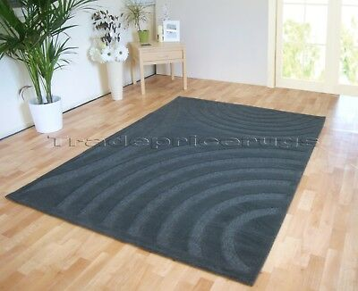 Small - Extra Large Grey Thick Pile Modern Swirl Arcs Carved Rug Clearance Sale