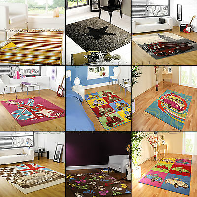 Small - Large Retro Funky 10Mm  Vibrant Modern Discount Clearance Sale Rugs