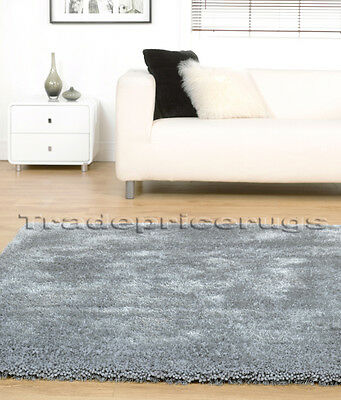 Small - Extra Large Thick Plush Chunky Soft Luxurious Silver Grey Shaggy Rug Mat