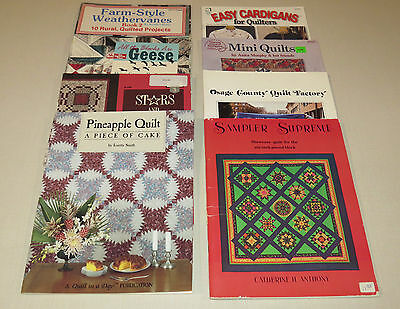 Lot of 9 Quilt Pattern Book Sampler Hand Quilting Cardigans pineapple stones