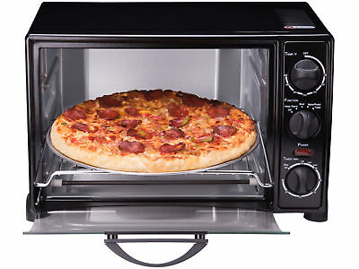 """Toaster Oven Convection 6-Slice 12"""" Pizza Bakeware Pan Set Stainless Steel Black"""