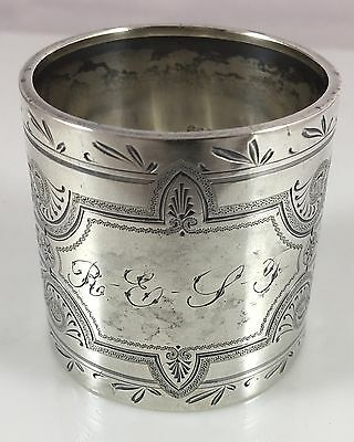 Antique Victorian C1870 Sterling Silver Intricate Hand Engraved Wide Napkin Ring