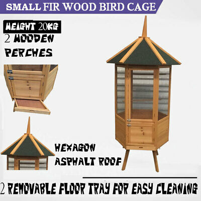 Extra Big Bird Cage Fir Wood Wire Mesh Aviary Budgie Canary Parrot