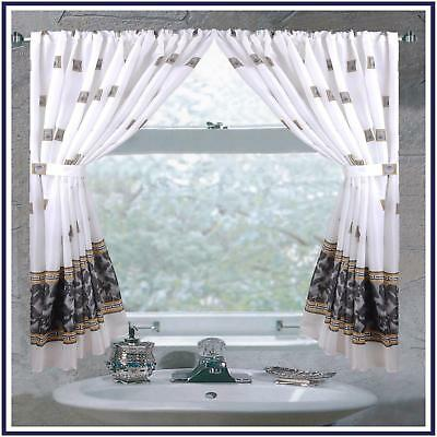 "Carnation Home ""Windsor"" Fabric Window Curtain in Black"