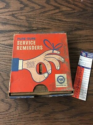 Vintage Pure Oil Pure Sure Service Reminders + Dispenser Automobilia Petroliana