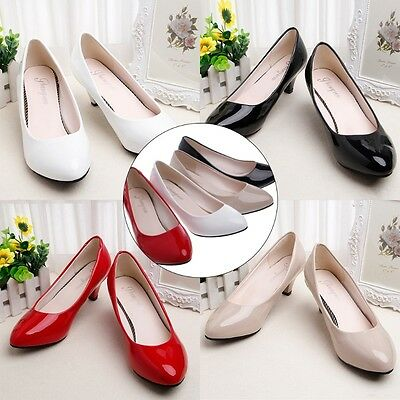 Women Low Heel Round Toe Chunky Thin Shoes Office Lady Dressy Pumps Dress Shoe