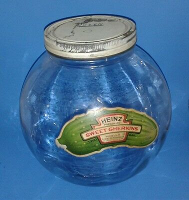 Vintage HEINZ Pickle Counter Drug Store Display Movie Counter Advertise Jar 2gal