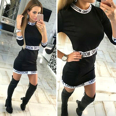 Womens Bodycon Long Sleeve Dress Ladies Party Evening Mini Dress Clubwear