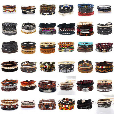 Men Women Fashion Handmade Genuine Leather Bracelet Braided Bangle Wristband Set