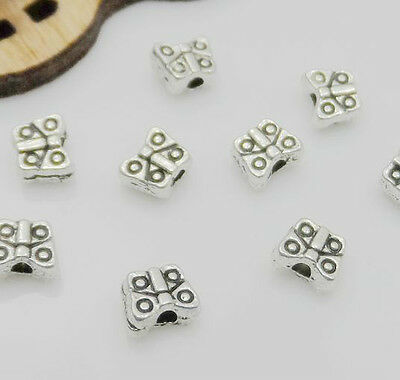 Free Shipping 100Pcs Tibetan Silver Butterfly Spacer Beads For Jewelry 4x5mm