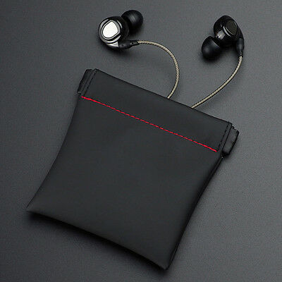 2x 8.5*8cm Portable PU Leather Carry Storage Safe Pouch Case Bag For Earphone