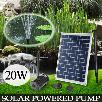 20W Solar Power Outdoor Fountain Garden Pond Pool Submersible Water Pump Kit
