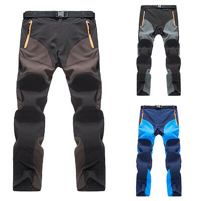 Outdoor Hiking Mens Warm Thin Trousers Windproof Casual Trekking Pants