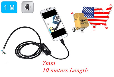 7mm Android Endoscope Waterproof USB Inspection Snake Tube Camera, 10 Meters
