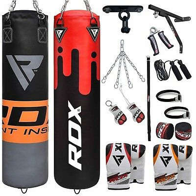 RDX Punch Bag 5ft Filled Heavy Boxing Set With Gloves Chain Bracket hooks MMA RO