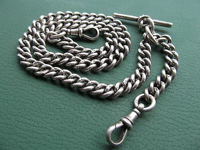 Vintage silver  pocket watch chain 17 inches long, 2 claws and t bar