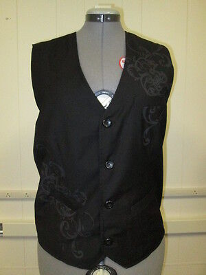 Guess Women's Jet Black Vest Button Front w/Tags Poly/Rayon Fake Pockets Size LG