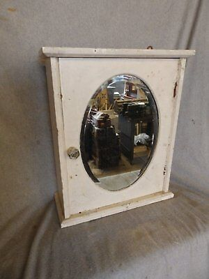Antique Wood Surface Wall Mount Medicine Cabinet Oval Beveled Mirror Vtg217-17P