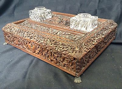 Antique 19th Century Large Inglo Indian Carved Sandal Wood Inkwell Writing Box