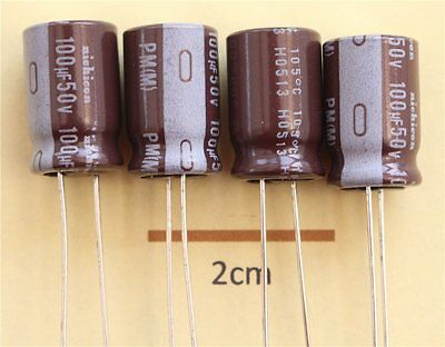 Nichicon PM Radial Electrolytic Capacitor 100uF 50V 105C (Pk of 4)