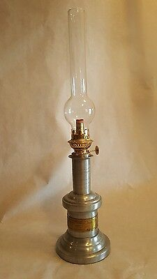 Vintage French Pump Oil Lamp With Chimney Brass + Pewter? Heavy Base Circa 1800