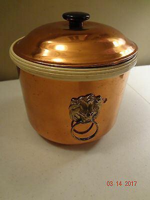 Vintage Coppercraft Guild Lions Head Brass Handles Ice Bucket