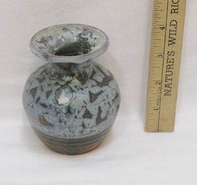 "Miniature Pottery Bud Vase Hand Crafted Signed Blue Gray Art Studio 4"" Tall"