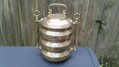 Antique Asian Hand Crafted Brass Food Box / Carrier