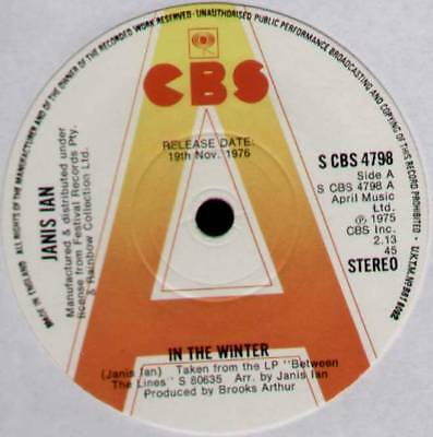 """Janis Ian ~ In The Winter / When The Party's Over ~ 1976 Uk """"promo"""" 7"""" Single"""
