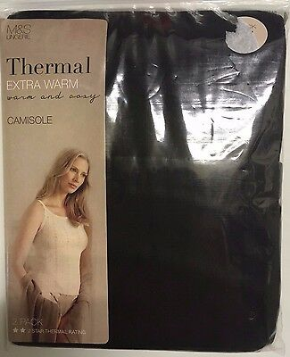 New 2 Pack Thermal Black Camisole Vests Extra Warm Marks & Spencer