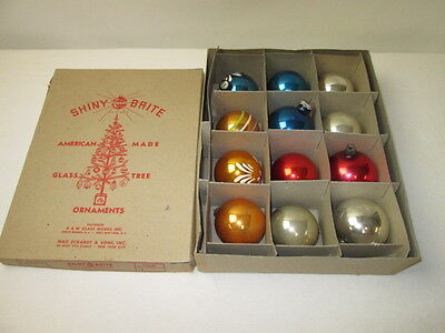 Vintage Shiny Brite Christmas Tree Glass Bulb Ornaments in Box