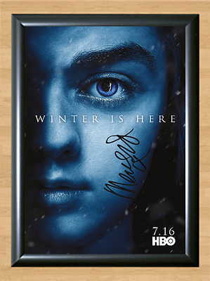 Game of Thrones Maisie Williams Signed Autographed A4 Photo Poster Memorabilia