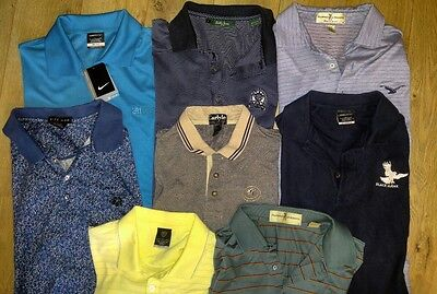 lot of eight men's large golf polo shirts various brands
