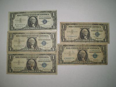 United States 1957 $1 Silver Certificates (5)