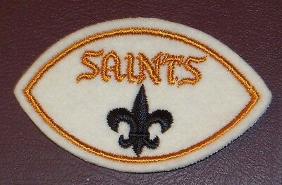 Vintage New Orleans Saints Nfl Logo Football Shaped Sew On Patch