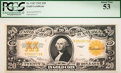 1922 $20 PCGS About New53 Gold Certificate FR#1187 Item#A462