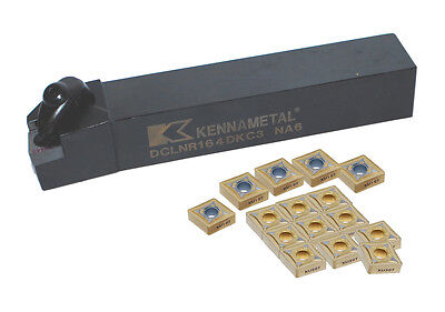 Kennametal Toolholder with 15 Carbide Inserts, DCLNR 16-4DKC3 with CNMG 432 Inse
