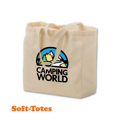 COTTON SOFT TOTES, GUSSET STYLE - 100 quantity - Custom Printed with Your Logo