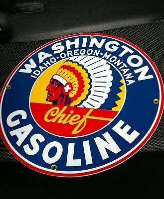WASHINGTON Gasoline Gas/Oil Gasoline Porcelain Sign....~12""