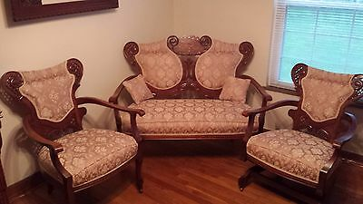 Antique Victorian Parlor Settee with Sofa Arm Chair and Rocking Chair