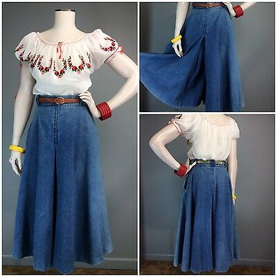 Vtg 70s 40s High Waist Style Wide WIDE Leg Gaucho Pants Denim Wide Loops Western