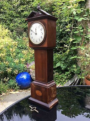 """Antique miniature longcase clock with lovely inlaid case. Working well. 18"""" tall"""