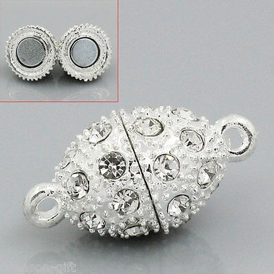 Wholesale Lots Gifts SP Rhinestone Oval Magnetic Clasps 21x10mm