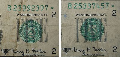 2 - 1950 E STAR $5 FIVE DOLLAR FEDERAL RESERVE NOTE - CURRENCY - Free Shipping